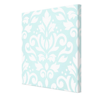 Scroll Damask Lg Design White on Duck Egg Blue Gallery Wrap Canvas