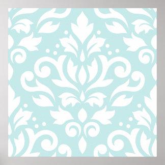Scroll Damask Lg Design White on Duck Egg Blue Poster