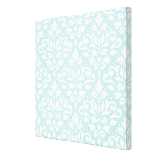 Scroll Damask Lg Ptn White on Duck Egg Blue Stretched Canvas Prints