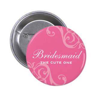 Scroll pink wedding name tag badge pin button