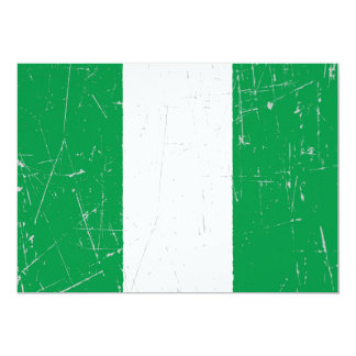 Scuffed and Scratched Nigerian Flag 13 Cm X 18 Cm Invitation Card