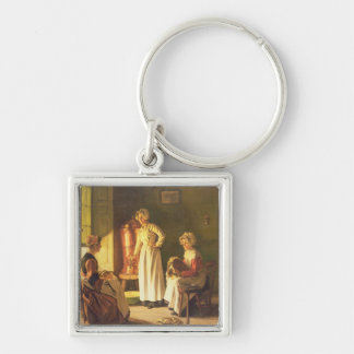 Scullery Maids Silver-Colored Square Key Ring