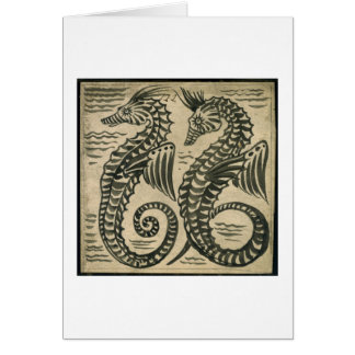 Sea-Horse (w/c on paper) Greeting Card