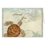 Sea Turtle Modern Coastal Ocean Beach Swirls Style Note Card