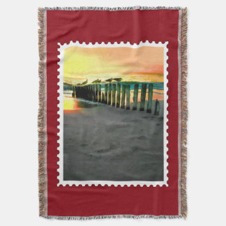 Seagulls on Beach Pilings at Sunset Stamp