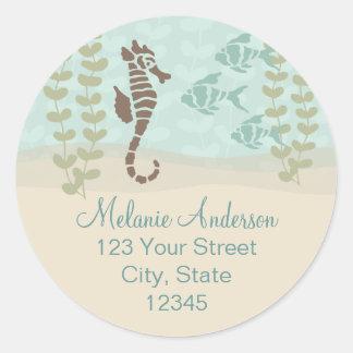 Seahorse Return Address Envelope Seal Round Sticker