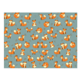 Seamless Fox and Butterfly Pattern Postcard