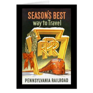 Season's Best Way To Travel Pennsylvania Railroad Greeting Card