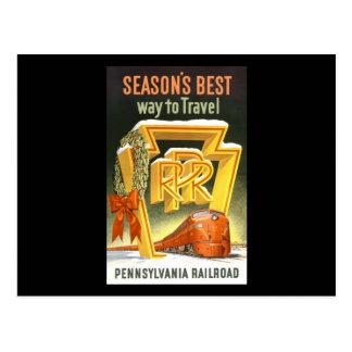 Season's Best Way To Travel Pennsylvania Railroad Postcard