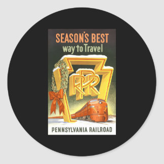 Season's Best Way To Travel Pennsylvania Railroad Round Sticker