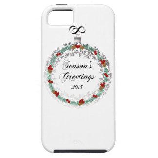 Seasons Greetings Christmas Wreath Ornament Print iPhone 5 Covers