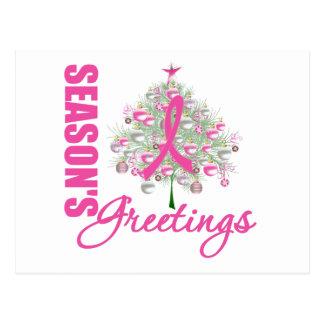 Season's Greetings Pink Ribbon Tree Postcard