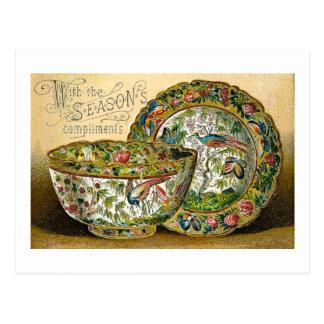 Season's Greetings Vintage China Dishes Victorian Postcard