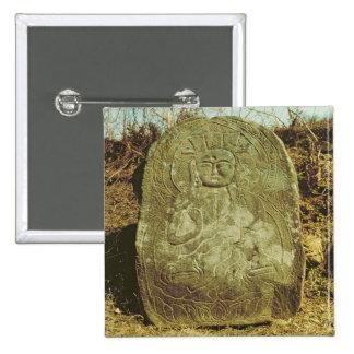 Seated Bodhisattva, Korean, c.985 AD (granite) 15 Cm Square Badge