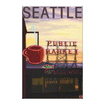 SeattlePike Place Market Sign and Water View Canvas Print