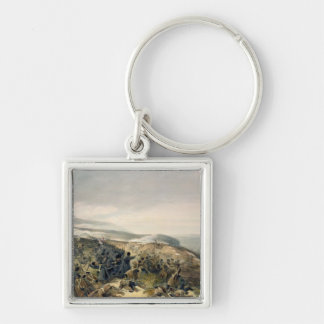 Second Charge of the Guards at Inkerman, 5th Novem Silver-Colored Square Key Ring