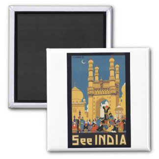 See India Poster Square Magnet