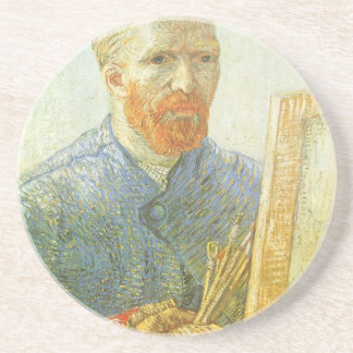Self Portrait in Front of Easel, Vincent van Gogh Beverage Coasters