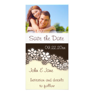 """Sepia  Flowers/photo  """"Save the Date"""" Photo Greeting Card"""