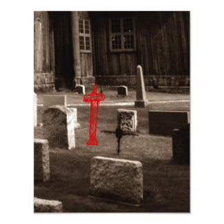 Sepia Gothic Church Graveyard Goth Invitations