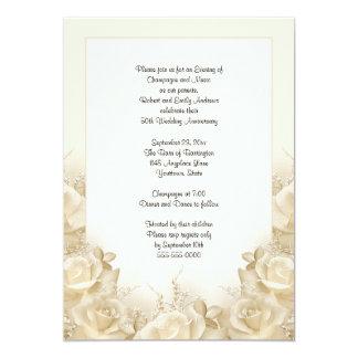 Sepia Roses 50th Anniversary Dinner Invitation