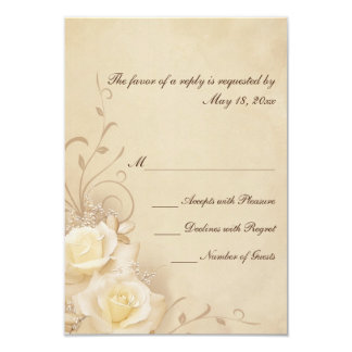 Sepia Roses RSVP Cards 9 Cm X 13 Cm Invitation Card