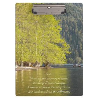 Serenity Prayer Lake Reflection Photo Clipboards