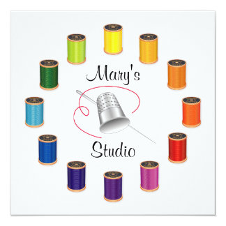 Sewing Thimble, Needle and Threads 13 Cm X 13 Cm Square Invitation Card