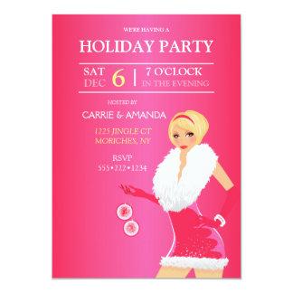 Sexy Hot Pink Christmas Fashion Girl Holiday Dress 13 Cm X 18 Cm Invitation Card