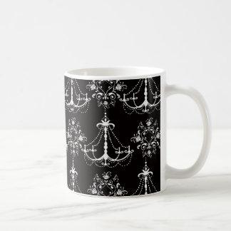 shabby chandelier white black damask basic white mug