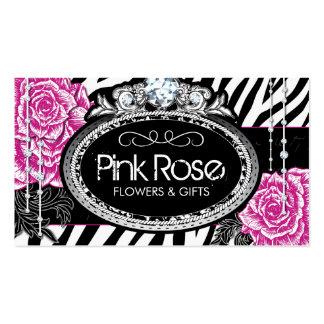 Shabby Chic Roses on Zebra Business Cards