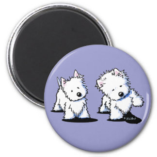Shadowboxing Westies 6 Cm Round Magnet