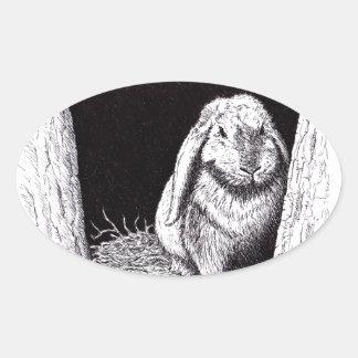 shadowy rabbit animal drawing oval sticker