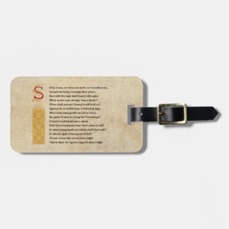 Shakespeare Sonnet 65 (LXV) on Parchment Tag For Bags
