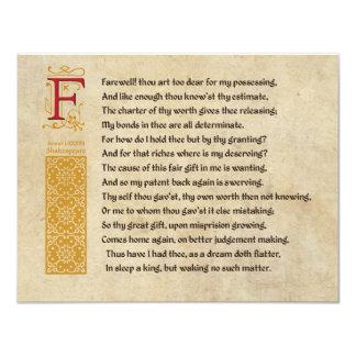 Shakespeare Sonnet 87 (LXXXVII) on Parchment 11 Cm X 14 Cm Invitation Card