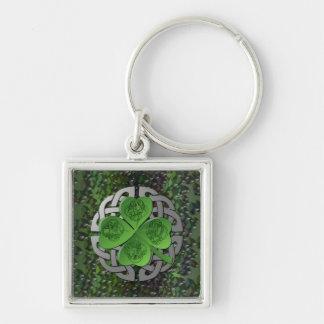 Shamrock – Celtic Knot – 4 Evangelists Silver-Colored Square Key Ring