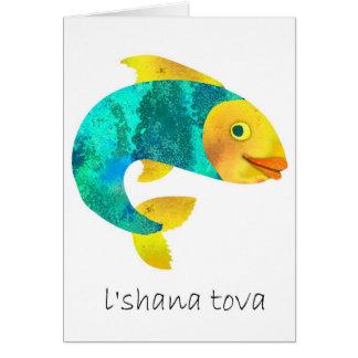 Shana Tova- Happy Jewish New Years,Fish motif Greeting Card
