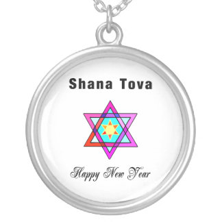 Shana Tova Jewish Star Round Pendant Necklace