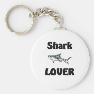 Shark Lover Basic Round Button Key Ring