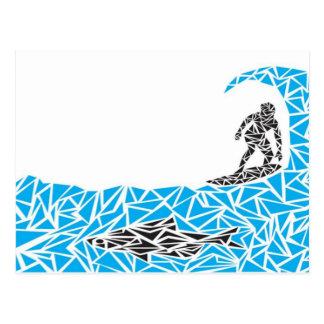 shark surfer postcard