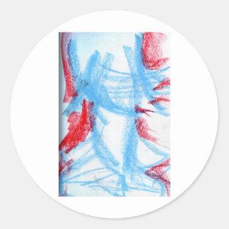 She Walks in Red Blue Round Sticker