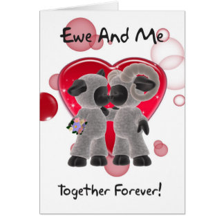 Sheep Valentine's Day Card - Ewe And Me Together F