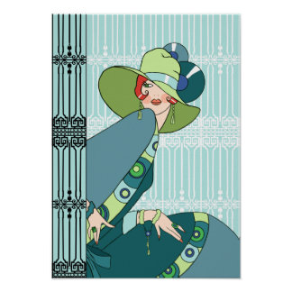 Shelby, 1930s Lady in Aqua and Teal Poster