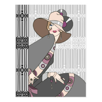 Shelby, 1930s Lady in Gray and Rose Postcard