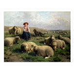 Shepherdess with Sheep in a Landscape Postcard