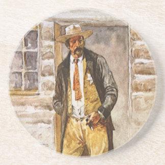 Sheriff Portrait by Seltzer, Vintage West Cowboy Drink Coaster