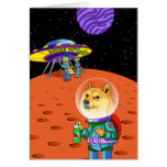 Shibe Doge Astro and the Aliens Memes Cats Cartoon Note Card