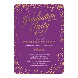 Shiny Confetti Graduation Party Invitation Plum