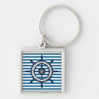 Ship Wheel Blue and White Stripe Silver-Colored Square Key Ring