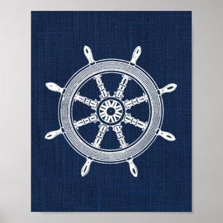 Ship Wheel Nautical Print